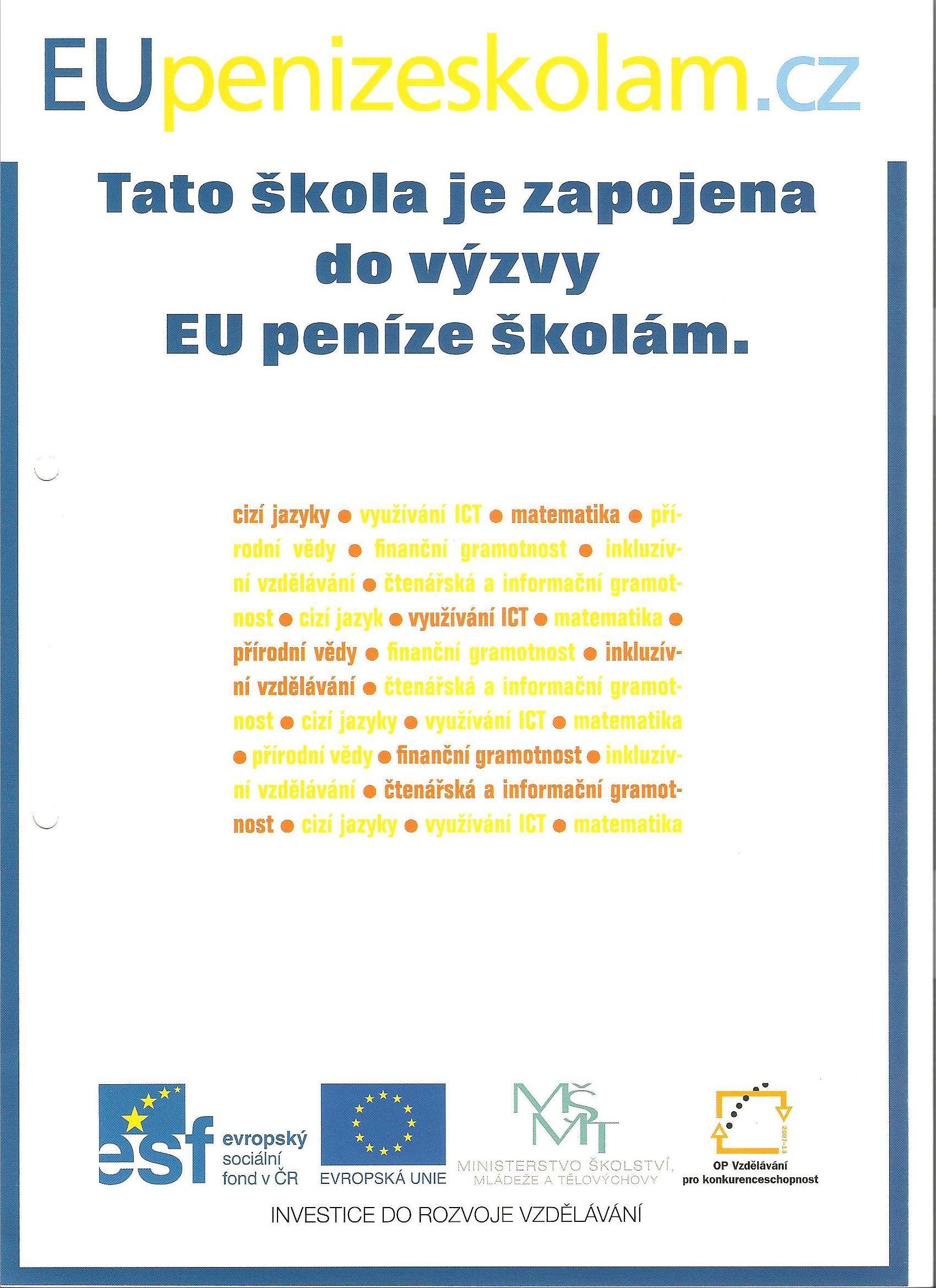 Tato škola je zapojena do výzvy EU peníze školám